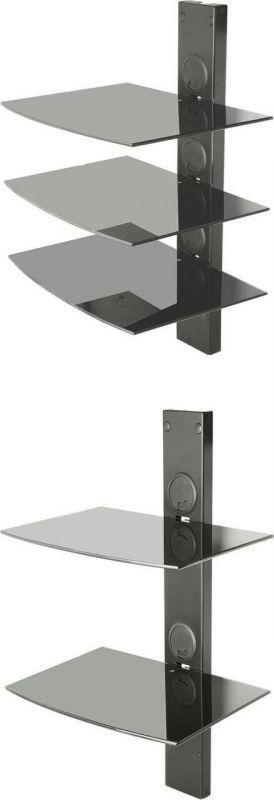 پایه دیواری استند شیشه ای تلویزیون سه طبقه